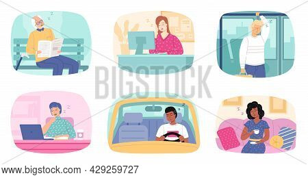 Tired People. Office Dormant Employees And Car Drivers. Passengers Sleeping In Transport. Men And Wo