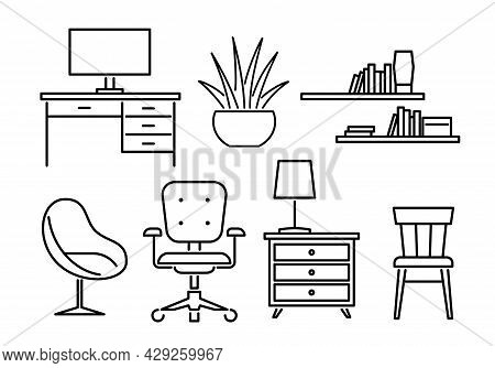 Furniture Line. Living Room Interior Design Icons. Soft Armchair And Table With Computer. Contour La