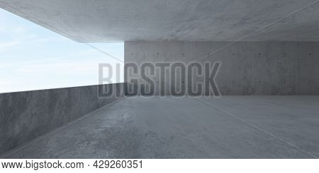 Abstract Empty, Wide Space Modern Concrete Room With Balcony Opening With Ocean View On The Left And