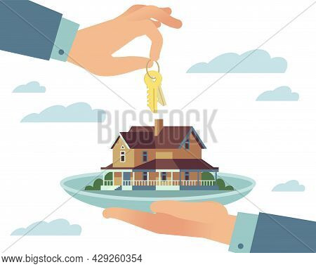 Turnkey House. Purchase Of Real Estate Ready For Living. Hand Over Residential Building Key To Prope