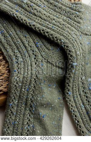 Dark Gray Knitted Men Socks Close Up, Woolen Texture