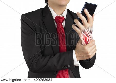 Office Worker Holding Mobile Phone Feels Pain His Wrist On White Background