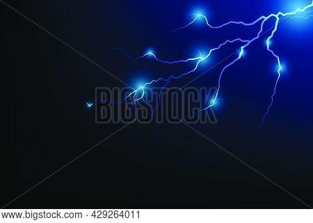 Vector Illustration Of Abstract Blue Lightning On Black Background. Blitz Lightning Thunder Light Sp