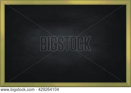 Chalkboard Blackboard In Wooden Frame Collection. Rubbed Out Dirty Chalkboard. Background For School