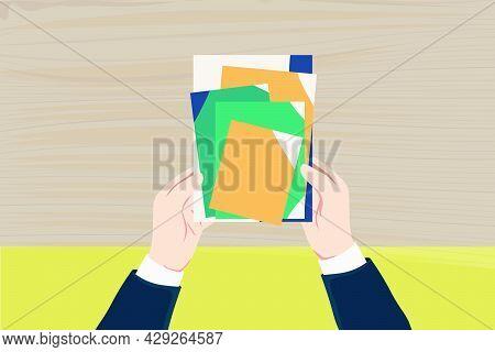Tax Return, Submit Tax Document, Tax Form /cartoon Banner Illustration