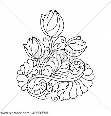 Coloring Book For Adults And Older Children. Abstract Floral Decorative Composition