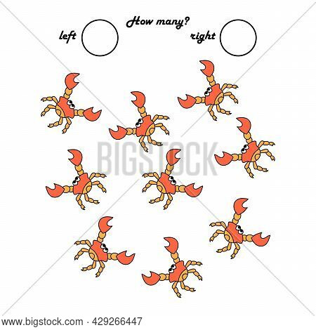 A Game For Preschool Children. Count How Many Crabs Go Left And How Many Right .