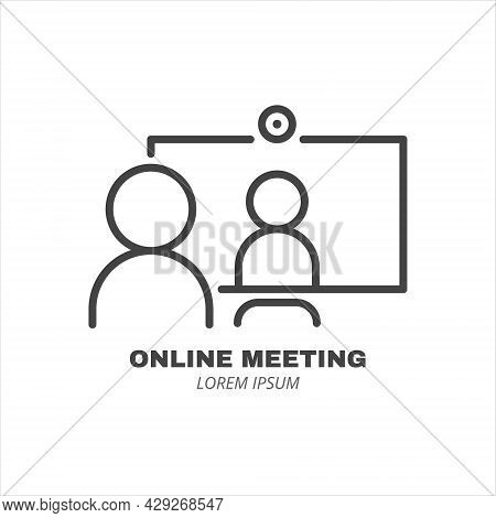 Computer With Two People Conferencing, Online Meeting Line Icon Isolated. Video Conference Concept.