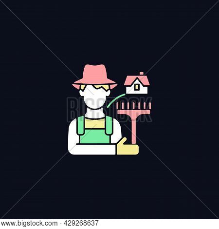 Rural Workers Rgb Color Icon For Dark Theme. Man Stands Near Barn. Labourer With Tool. Grow And Prod