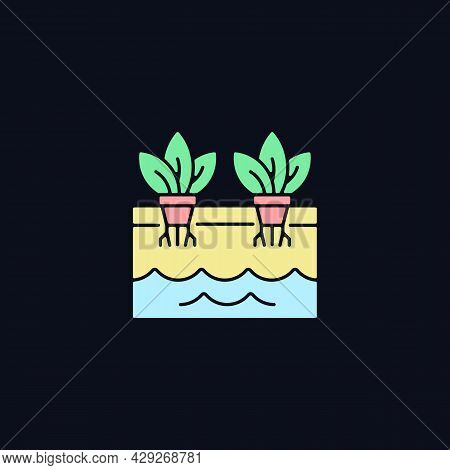 Hydroponics Rgb Color Icon For Dark Theme. Grow Plants Without Soil. Use Nutrients For Plants. Isola