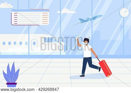 Man With Bag Late For The Plane Vector Illustration Man With Luggage Running In A Hurry In Airport T