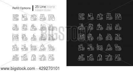 Refill Options Linear Icons Set For Dark And Light Mode. Reusable Products To Reduce Carbon Print On