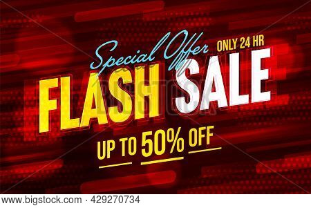 Flash Sale Banner Template Design With Halved Price Promo. Special Offer Poster For Discount Announc