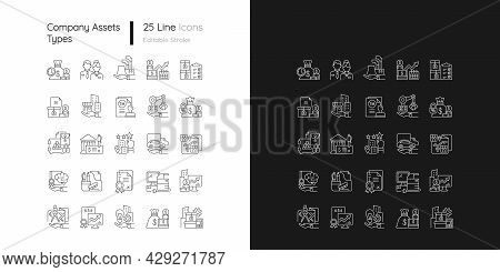 Business Assets Linear Icons Set For Dark And Light Mode. Company Owned Items. Resources For Product
