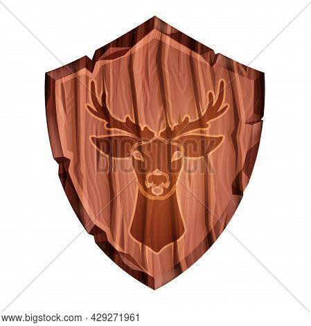 Wooden Game Shield Vector Illustration, Medieval Ui League Badge, Isolated Deer Silhouette. Knight A