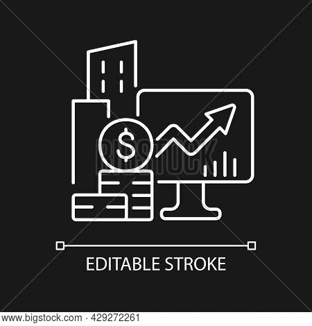 Company Stock White Linear Icon For Dark Theme. Income Increment. Business Ownership. Thin Line Cust