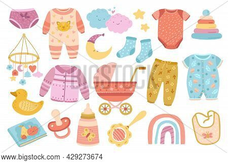 Cute Nursery Elements. Scandinavian Baby Shower, Doodle Toddler Fashion Clothes And Accessories. Fla