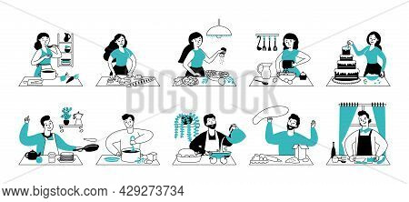 People Cooking On Kitchen. Woman Preparing Food, Home Cook Service. Happy Young Chef Person, Man Cut