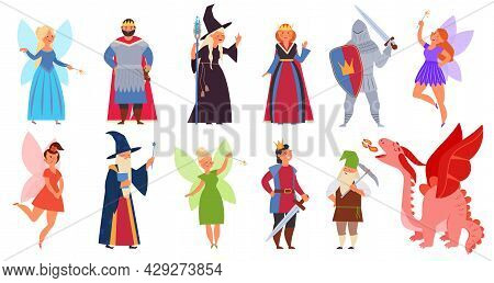 Fairy Tale Clipart. Medieval Magician Characters, Cartoon Fairy Girl Dragon And Fantasy Wizard. Hall