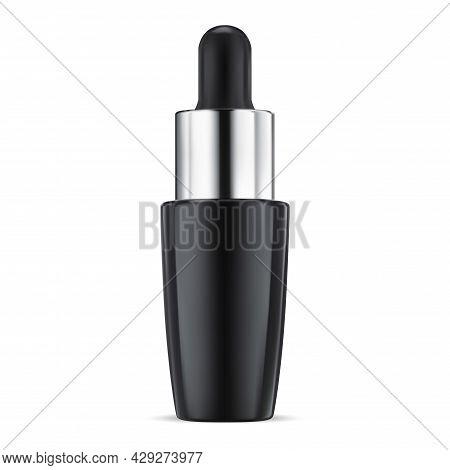 Cosmetic Serum Bottle. Collagen Essence Dropper Bottle, Vector Template. Blue Glass Q10 Moisture Gel