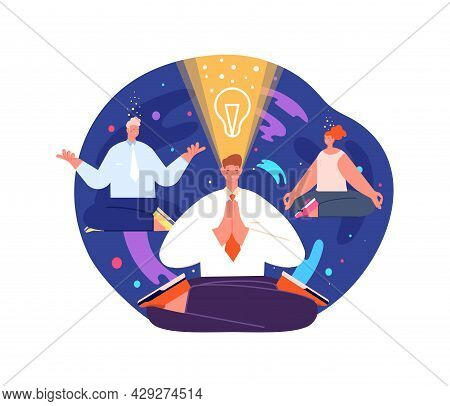 Business Meditation Process. Levitation Office Woman In Yoga Pose, Mind Health Wellbeing. Start New