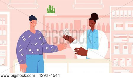 Pharmacist Consult. Pharmacy Seller Sell Drug, Medication Drugstore. Patient And Doctor At Counter W