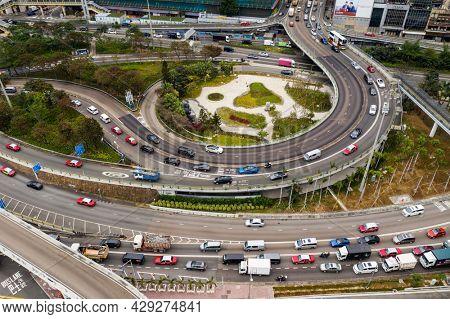 Causeway Bay, Hong Kong 11 January 2021: Top down view of Hong Kong traffic