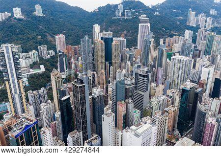 Causeway Bay, Hong Kong 11 January 2021: Aerial view of Hong Kong