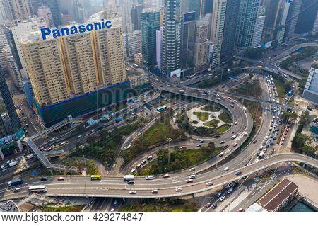 Causeway Bay, Hong Kong 07 January 2021: Top view of Hong Kong business district