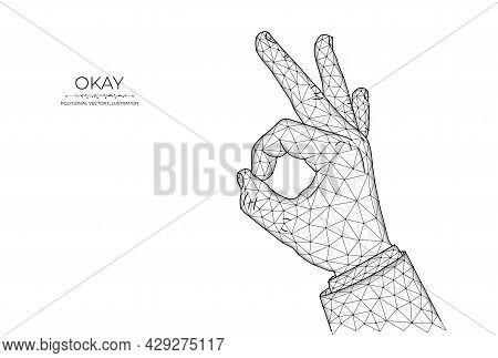 Ok Hand Gesture Low Poly Art, Polygonal Vector Illustration Okay Or Ring Gesture On A Dark Blue Back