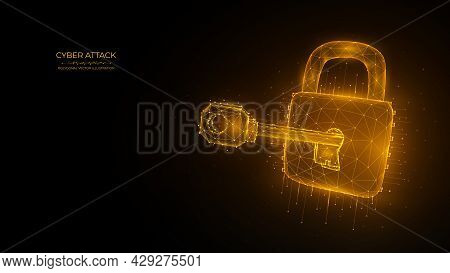 Cyber Security Low Poly Art. Polygonal Vector Illustration Of A Key And Lock. Cyber Attack Or Data H