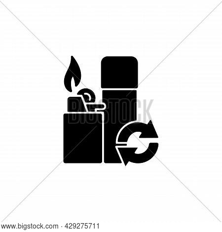 Lighter Refill Black Glyph Icon. Propane And Gas Filling. Domestic Lighting Tool. Reusable Product T