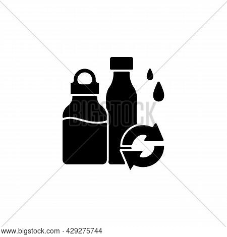 Water Bottles Refill Black Glyph Icon. Eco Friendly Package For Drinks. Glass Bottles. Reusable Prod