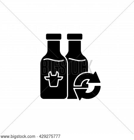 Refillable Milk Bottles Black Glyph Icon. Glass Bottle For Lactose Drink. Eco Friendly Package. Groc