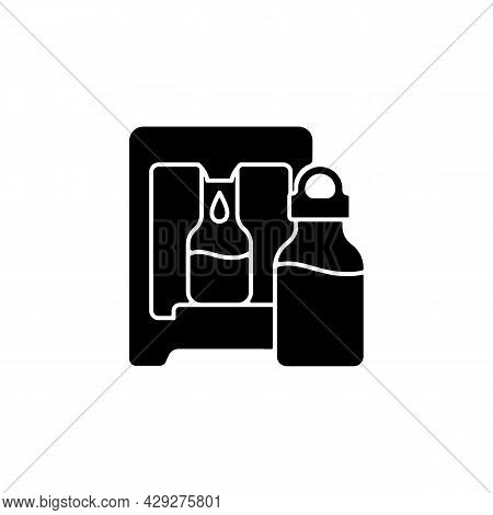 Self Service Water Refill Station Black Glyph Icon. Vending Machine. Dispenser For Purified Liquid.