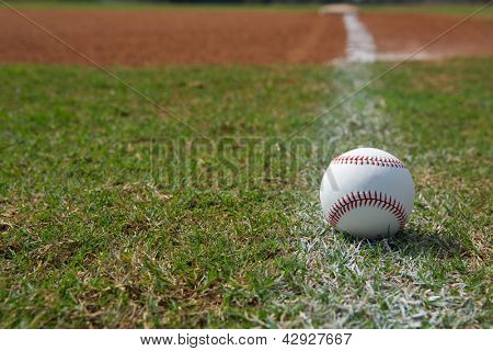 Baseball on the Outfield Foul Ball Chalk Line