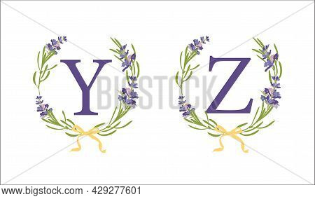 Y Z Letter. Set Modern Hand-drawn Flat Sketch Illustrations. Lavender Flower Wreath With Alphabet Mo