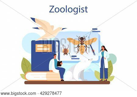 Zoologist Concept. Scientist Exploring And Studying Fauna. Wild Animal