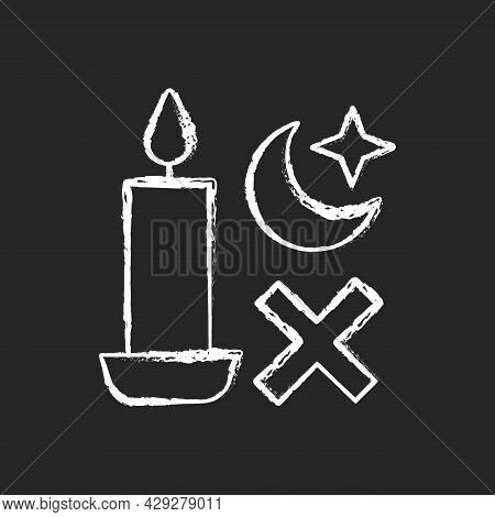 Never Use Candle While Sleeping Chalk White Manual Label Icon On Dark Background. Avoid Candles Usag