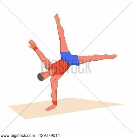 A Gymnast With An Athletic Physique Performs Floor Exercise Programme Event, Athlete Shows Static Ho