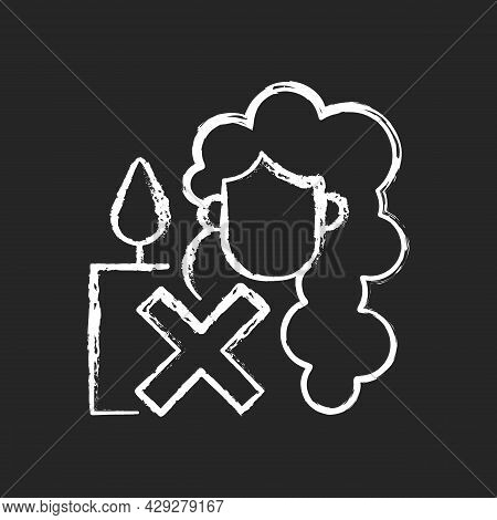 Keep Hair Away From Open Flame Chalk White Manual Label Icon On Dark Background. Candle Making Safet