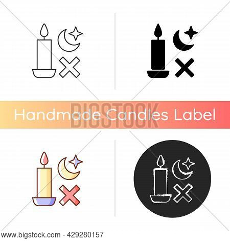 Never Use Candle While Sleeping Manual Label Icon. Avoiding Candles Usage During Power Outage. Linea