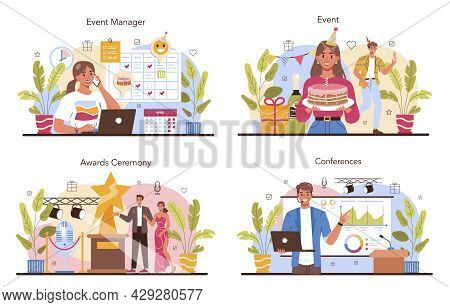 Event Management Concept Set. Holiday, Ceremony Or Corporate