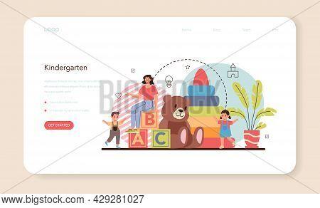 Kindergartener Web Banner Or Landing Page. Professional Nany And Children