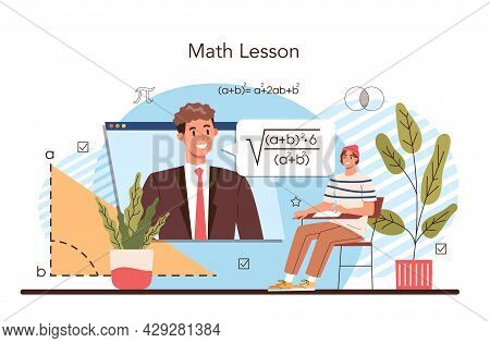 Math School Subject. Students Studying Mathematics And Algebra