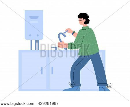 Plumber Installs And Connects Faucet On Sink In Flat Style Vector Illustration