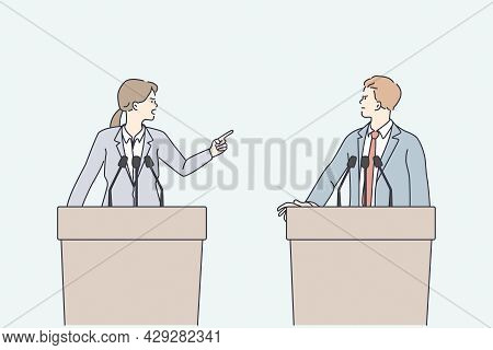 Politics Debates And Arguing Concept. Young Angry Man And Woman Politicians Standing At Speakers Tri