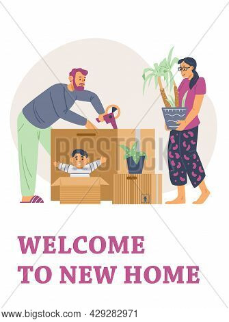 Banner Or Card Welcoming People To New Home, Flat Vector Illustration.