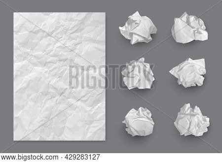 Paper Texture. Crumpled Balls And Realistic Writing Piece Of Damaged Paper Decent Vector Template