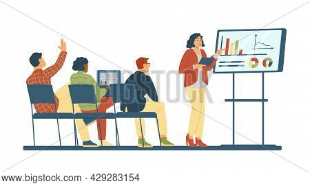 Concept Of Meeting, Business Presentation, Training In Flat Vector Illustration